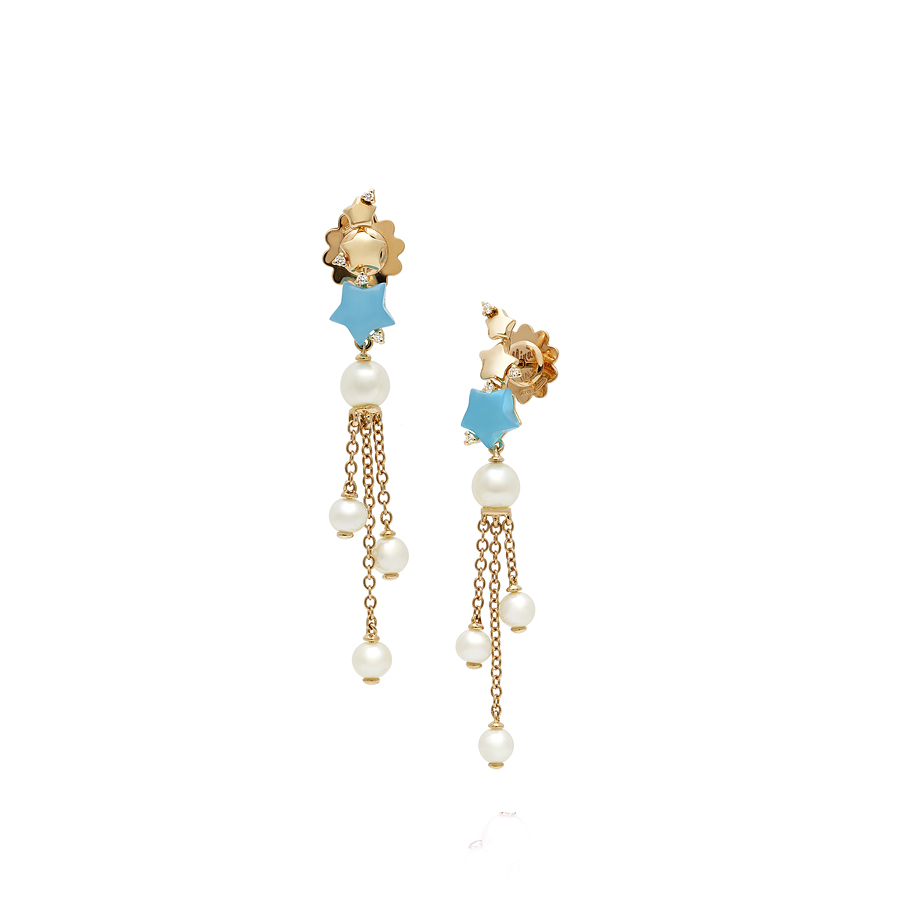 Rose Gold Diamond Earrings White Pearls Turquoise Agate Minu Mania